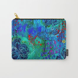In Too Deep - Blue Abstract Flowers Carry-All Pouch
