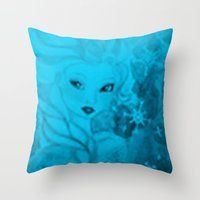 frozen elsa Throw Pillows featuring Frozen Elsa by ALynnArts