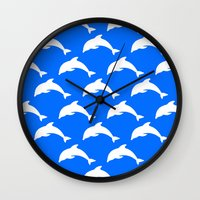 dolphins Wall Clocks featuring Dolphins by The Wellington Boot