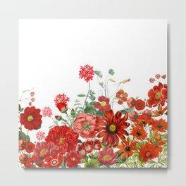 Vintage & Shabby Chic - Red Summer Flower Garden Metal Print