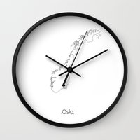 oslo Wall Clocks featuring Capital: Oslo by NordMilk
