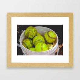 A Bucket Full of Softballs Framed Art Print