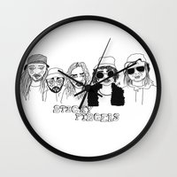 cactei Wall Clocks featuring Sticky Fingers  by ☿ cactei ☿
