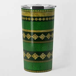 Celtic Knot Decorative Gold and Green pattern Travel Mug