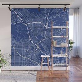 Glendale Map, USA - Blue Wall Mural