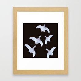 White Willow grouse Birds On A Black Background #decor #buyart #society6 Framed Art Print