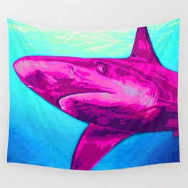 Painted Pink Shark Wall Tapestry