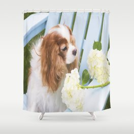 Cavalier King Charles With Hydrangeas Shower Curtain