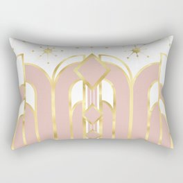 Art Deco Geometric Architectural Shapes and Stars in Blush Pink and Yellow Gold Rectangular Pillow