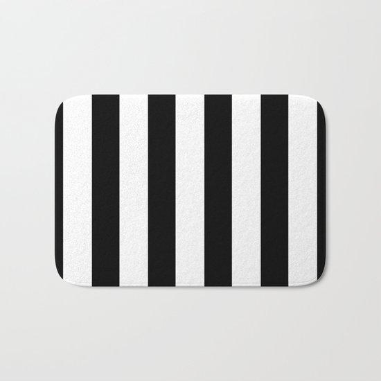 Simply Vertical Stripes in Midnight Black Bath Mat