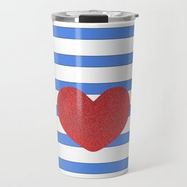 Red Heart and Blue Stripes Travel Mug