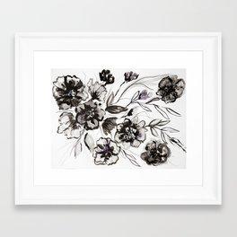 Ink Flowers Framed Art Print
