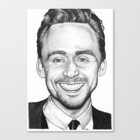 tom hiddleston Canvas Prints featuring Tom Hiddleston by Angie Siketa