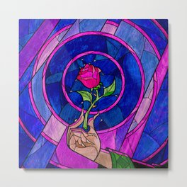 beauty and the beast rose flower Metal Print