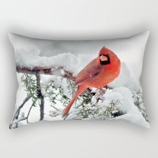 Cardinal on Snowy Branch #2 Rectangular Pillow
