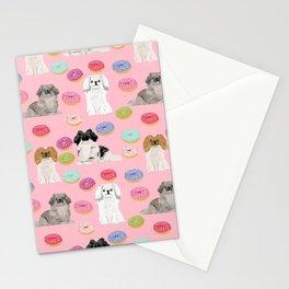 Pekingese dog breed dog pattern pet portraits donut food dog breeds pet friendly Stationery Cards