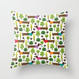 Dachshunds On A Walk In The Park Throw Pillow