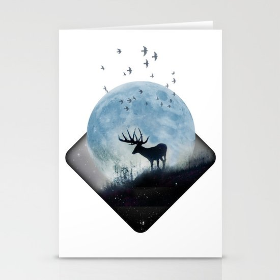 blue moon spill Stationery Cards