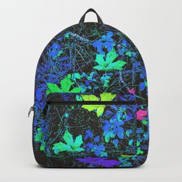 maple leaf in pink green purple blue yellow with blue creepers plants background Backpack