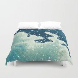 Pixel Snowdrift Nebula Duvet Cover