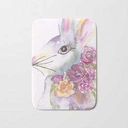 Bunny with Roses Bath Mat