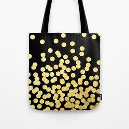 Cruz - Gold Foil Dots on Black - Scattered gold dots, polka dots, dots by Charlotte Winter Tote Bag