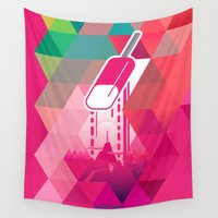 popsicle Wall Tapestries featuring Raspberry Popsicle by Spires