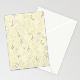 Pastel Yellow Green Floral Stationery Cards