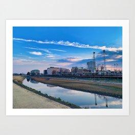 Sunset in Koshigaya, Saitama, Japan Art Print
