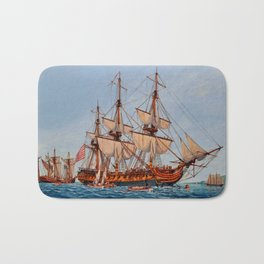 Revolutionary Painting of the Frigate Confederacy Bath Mat