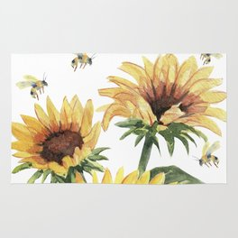 Sunflowers and Honey Bees Rug