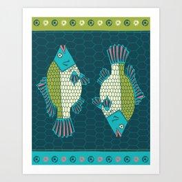 Tropical Paleo –Tilapia in Teal Art Print
