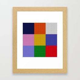 Knitted colorful squares Framed Art Print