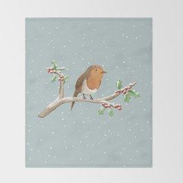 Robin on Branch Throw Blanket