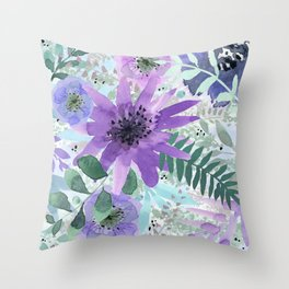 Spring Floral with Purples and Blues Throw Pillow