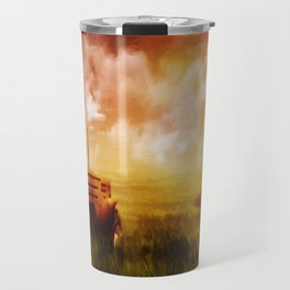 Tractor Oil Painting  Travel Mug