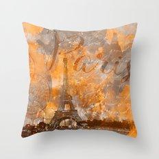 Paris Eifel Tower orange mixed media art Throw Pillow