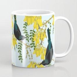 Tuis in the Kowhai Flowers Coffee Mug
