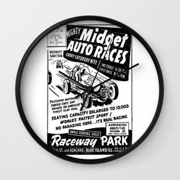 Midget Auto Races, Race poster, vintage poster, bw Wall Clock