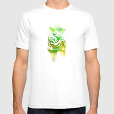 Yoda Print White MEDIUM Mens Fitted Tee