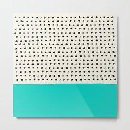 Aqua x Dots Metal Print