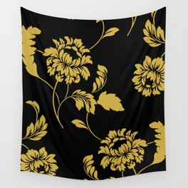 Victorian Floral (Black & Gold) Wall Tapestry