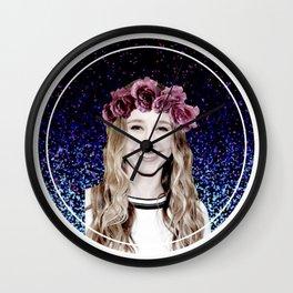Taissa Farmiga Flower Crown Edit Wall Clock