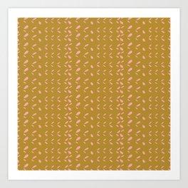 Abstract blush pink mustard yellow watercolor geometrical pattern Art Print