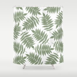 Hand painted forest green tropical leaves pattern Shower Curtain
