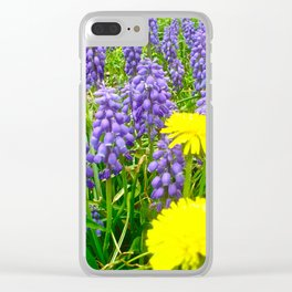 Field of Flowers, Dandelions and Bluebonnets Clear iPhone Case