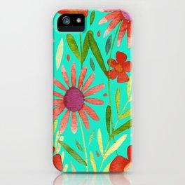 Flower Burst Orange and Turquoise, floral pattern design iPhone Case
