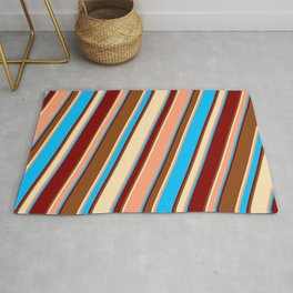 Eyecatching Brown, Beige, Light Salmon, Deep Sky Blue, and Maroon Colored Lines/Stripes Pattern Rug