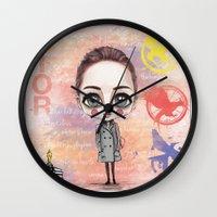 jennifer lawrence Wall Clocks featuring Jennifer Lawrence by Joana Pereira