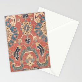 Geometric Leaves V // 18th Century Distressed Red Blue Green Colorful Ornate Accent Rug Pattern Stationery Cards
